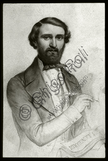 """""""Giuseppe Verdi in the period of Nabucco"""", pencil and charcoal drawing by G. Turchi."""