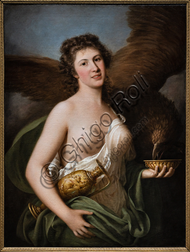 """Giuseppina Grassini as Hebe offering the nectar to Jupiter's eagle"", 1791-2, by  Gaspare Landi (1756 - 1830), oil on canvas."