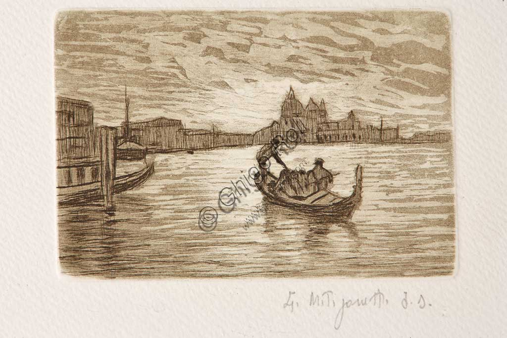 "Assicoop - Unipol Collection: ""The Gondolier"", etching and aquatint on white paper, by Giuseppe Miti Zanetti (1859 - 1929)."