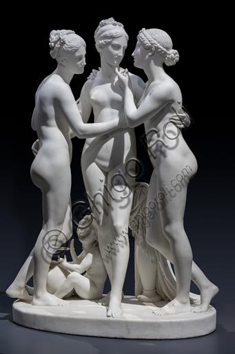 """""""Le Grazie con Cupido"""", 1820-2, di Bertel Thorvaldsen (1770 - 1844), marmo di Carrara."""