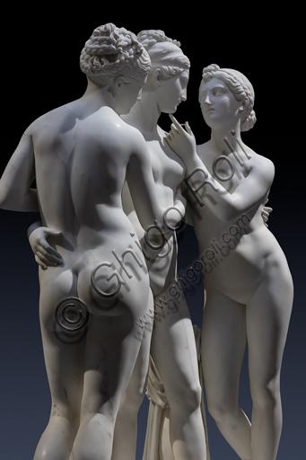 """""""Le Grazie con Cupido"""", 1820-2, di Bertel Thorvaldsen (1770 - 1844), marmo di Carrara. Particolare."""