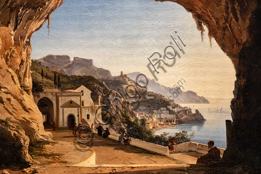 """Alessandro La Volpe: """"The cave of the Capichins in Amalfi"""", oil painting, about 1850."""