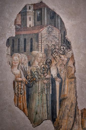 Perugia, Galleria Nazionale dell'Umbria, Cappella dei Priori: Ciclo dedicato alle Storie di S. Ludovico di Tolosa e S. Ercolano, eseguite tra il 1454 e il 1480. Affresco. Il ciclo è caratterizzato da vedute e monumenti della Perugia del Quattrocento. Particolare con gruppo di donne.