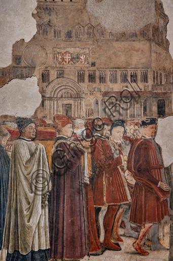 Perugia, Galleria Nazionale dell'Umbria, Cappella dei Priori: Ciclo dedicato alle Storie di S. Ludovico di Tolosa e S. Ercolano, eseguite tra il 1454 e il 1480. Affresco. Il ciclo è caratterizzato da vedute e monumenti della Perugia del Quattrocento. Particolare con gruppo di uomini.