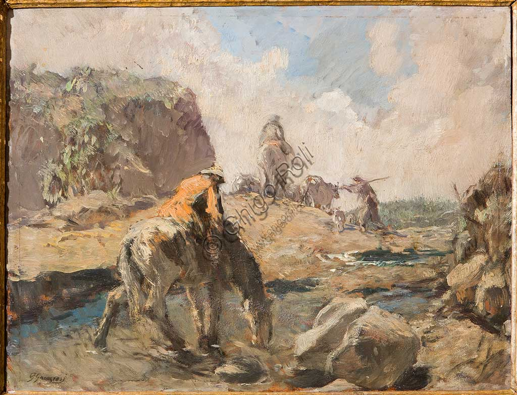 "Assicoop - Unipol Collection: Giuseppe Graziosi (1879-1942), ""The Ford"". Oil on plywood, cm.50 X 65."