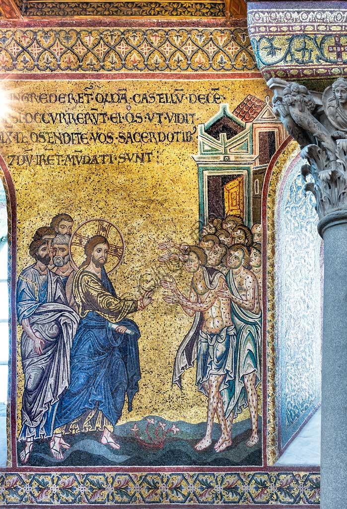 """Monreale, Duomo: """"Healing of ten leprous men"""", Byzantine mosaic, Episodes from the life of Christ, XII - XIII centuries. Latin inscription:""""IESUS CUM INGREDERETUR QUODDAM CASTELLUM DECEM VIRI LEPROSI OCCURRERUNT EI QUOS UT VIDIT DIXITOSTENDITE VOS SACERDOTIBUS ET DUM IRET MUNDATI SUNT"""" ."""