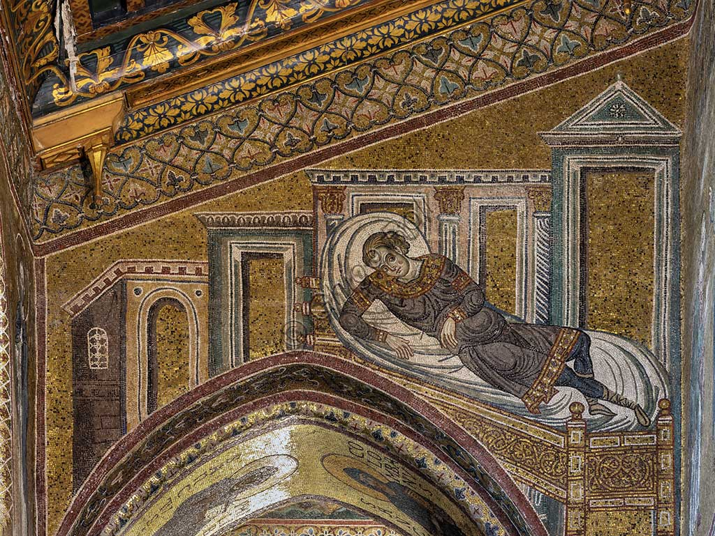 "Monreale, Duomo: ""Healing of the centurion's son"", Byzantine mosaic, XII - XIII centuries in  the Northern nave."