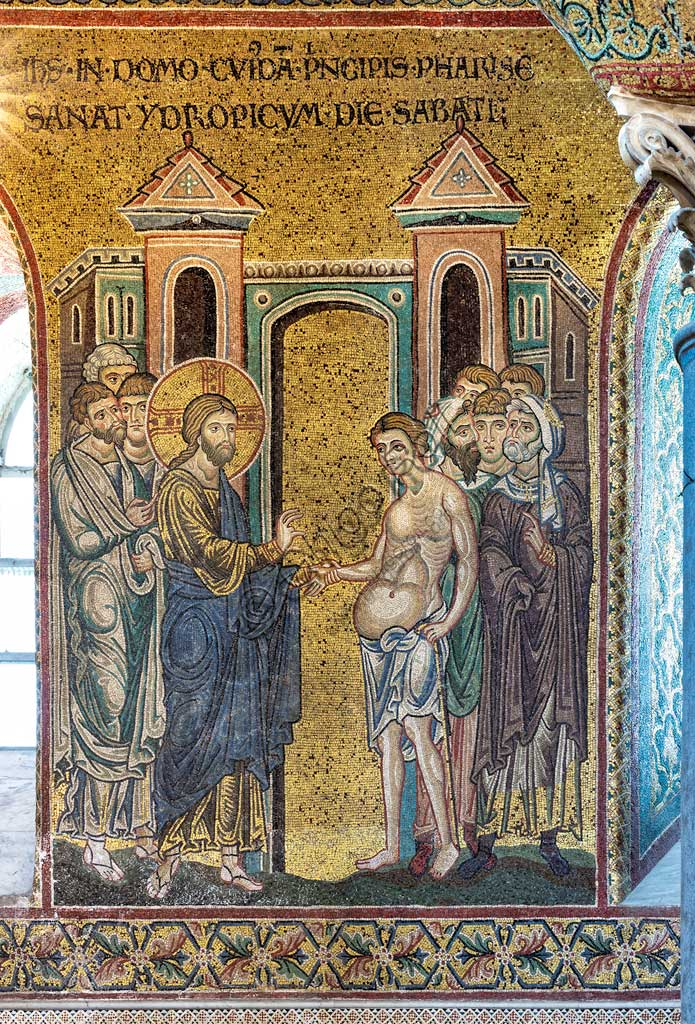 "Monreale, Duomo: ""Healing of the dropsical man"", Byzantine mosaic, Episodes from the life of Christ, XII - XIII centuries. Latin inscription:""IESUS IN DOMO CUJUSDAM PRINCIPIS FARISEORUM SANAT YDROPICUM DIE SABATI"""