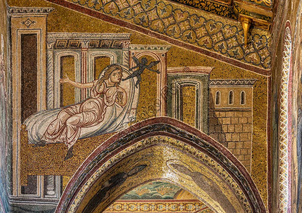 "Monreale, Duomo: ""Healing of the Canaanite woman"", Byzantine mosaic, XII - XIII centuries in  the Southern nave."