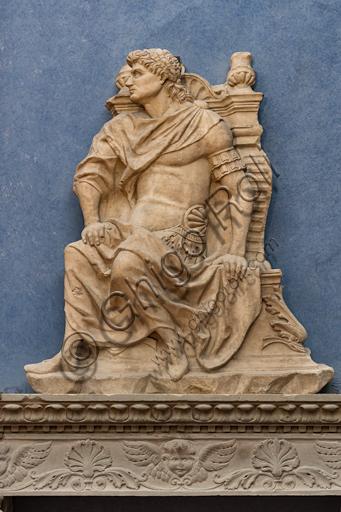 "Follower of Giovan Antonio Amadeo: series of ""warriors in ancient attire, Ulysses"", mid XV century, marble."