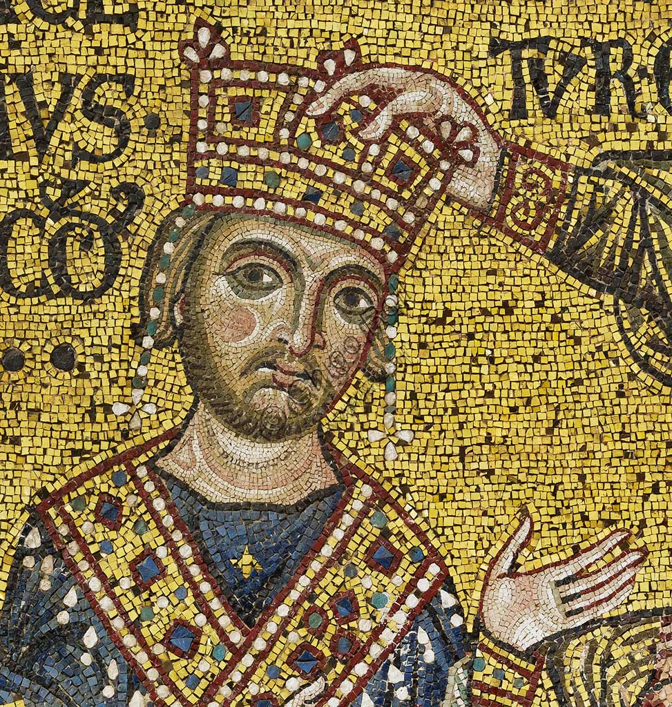 Monreale Cathedral, transept: the Byzantine mosaic which depicts King William II crowned by Christ. Detail with the portrait of William II.The mosaics of the Cathedral were made between the twelfth and mid-thirteenth century by partly local and partly Venetian workers, trained at the Byzantine school.