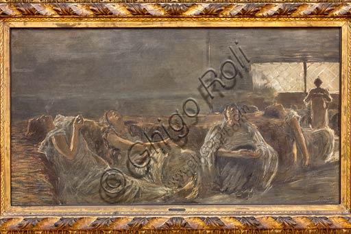 """Piacenza, Galleria Ricci Oddi:  """"Hashish: le fumatrici di oppio"""" (1877),   olio su tela di Gaetano Previati (1852 - 1920)."""