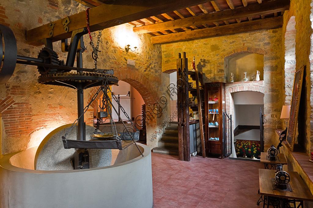 Hotel San Lorenzo (l'albergo ricavato in una antica cartiera sul torrente Pescia): sala con macina.