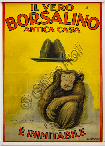"""""""The real Borsalino, old branch, is inimitable"""", Illustration for the advertising poster by Marcello Dudovich, 1921, chromolithography on paper."""