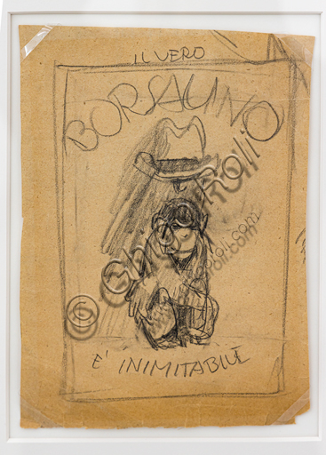 """""""The real Borsalino, old branch, is inimitable"""", pencil sketch on paper for an advertising poster by Marcello Dudovich, 1921."""
