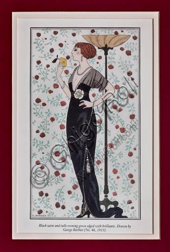 Illustrazione d'epoca  di George Barbier (stile Art Déco): modello di abito (inizio XX secolo).