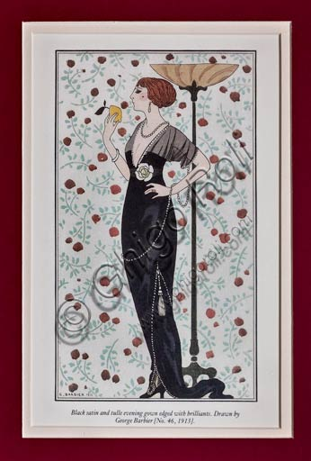Vintage illustration by George Barbier (Art Déco style): dress model (beginning XX century),