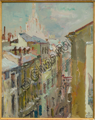 "Mario Vellani Marchi (1895 - 1979): ""Winter Impression in Cavallotti Street""; Oil painting on plywood, cm 30 x 23,5."