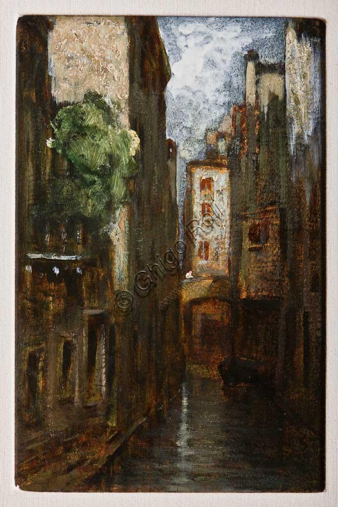 """Collezione Assicoop Unipol:  Giuseppe Miti Zanetti, """"Impressioni di un rio"""", olio su cartone. Recto."""