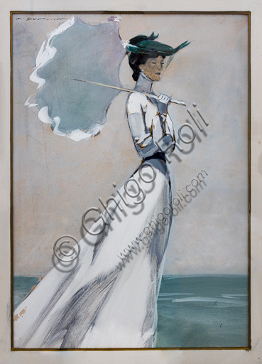 """""""Along the Sea"""", tempera and charcoal on paper, by Marcello Dudovich, 1952."""
