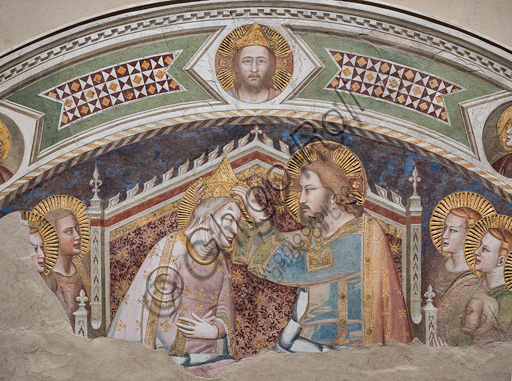 "Basilica of the Holy Cross: ""The Coronation of the Virgin"", first half XIV century, by Maso di Banco, detached fresco."