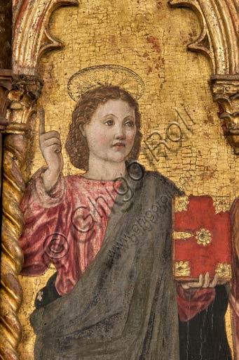 """Modena, Galleria Estense: polittico su fondo oro """"Incoronazione della Vergine e Santi"""", (1462 - 1466), tempera su tavola , cm. 288 x 220 , di Agnolo e Bartolomeo degli Erri. Dettaglio."""