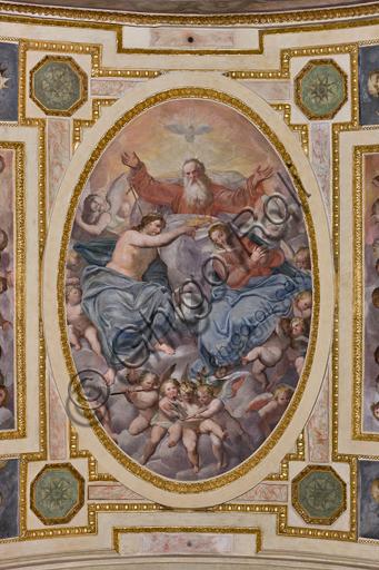 """Genova, Duomo (Cattedrale di S. Lorenzo), interno, Cappella Lercari o del Santissimo Sacramento (abside settentrionale), volta: """"Incoronazione della Vergine"""", affresco di Giovanni Battista Castello detto il Bergamasco, 1564-7."""