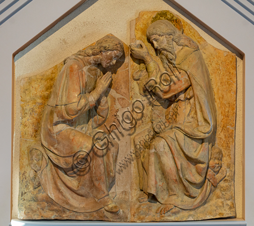 "Montefalco, Museum of St. Francis: ""Coronation of the Virgin"", by workshop of Andrea della Robbia, first half of the XVI century, polychrome terracotta."