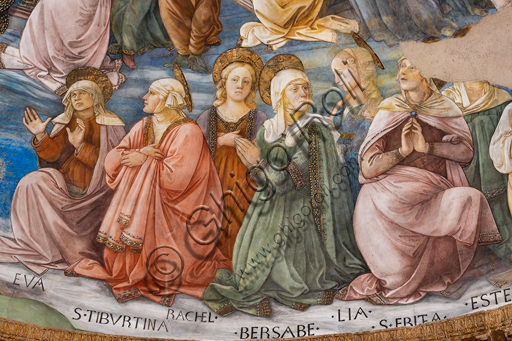 """Spoleto, the Duomo (Cathedral of S. Maria Assunta), presbytery, apse bowl-shaped vault: """"Coronation of Mary"""", fresco by Filippo Lippi, helped by Fra' Diamante and Pier Matteo d'Amelia, 1468-9. Detail with saints."""