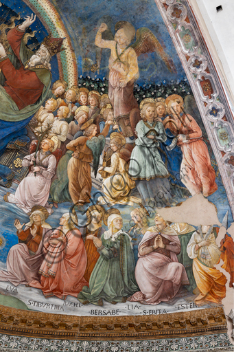 """Spoleto, the Duomo (Cathedral of S. Maria Assunta), presbytery, apse bowl-shaped vault: """"Coronation of Mary"""", fresco by Filippo Lippi, helped by Fra' Diamante and Pier Matteo d'Amelia, 1468-9. Detail with saints and angels."""