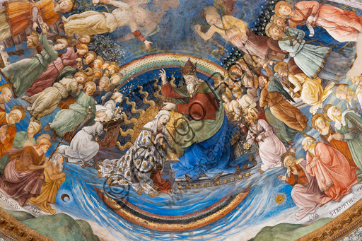 """Spoleto, the Duomo (Cathedral of S. Maria Assunta), presbytery, apse bowl-shaped vault: """"Coronation of Mary"""", fresco by Filippo Lippi, helped by Fra' Diamante and Pier Matteo d'Amelia, 1468-9."""