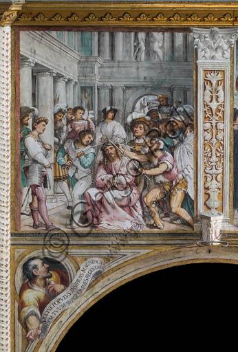 """Cremona, Duomo (Cattedrale di S. Maria Assunta), interno, presbiterio, tredicesimo arcone:  """"Incoronazione di spine"""", affresco di Girolamo Romanino, 1519."""