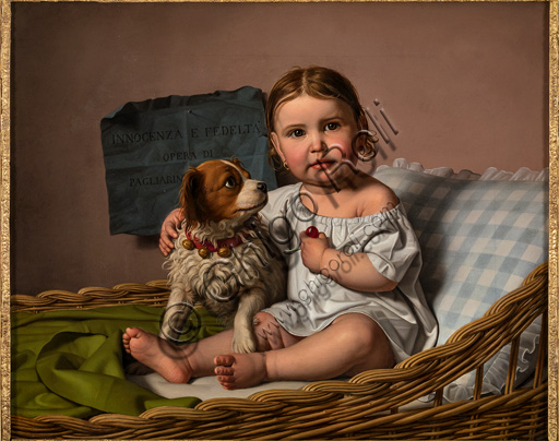 "Assicoop - Unipol Collection: Giovanni Pagliarini (1808 - 1878), ""Innocence and Loyalty"", oil on canvas, cm 61,5 X 75."