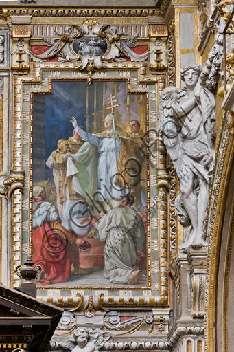 """Genova, Duomo (Cattedrale di S. Lorenzo),  interno, cappella Cybo (braccio settentrionale del transetto): """"Innocenzo IV proclama la traslazione delle ceneri"""", affresco di L. Pogliaghi (1910)."""