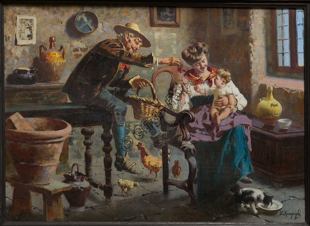 """Collezione Assicoop - Unipol: """"Interno con uomo, donna e bambina"""", di Eugenio Zampighi (1859 - 1944), olio su tela."""