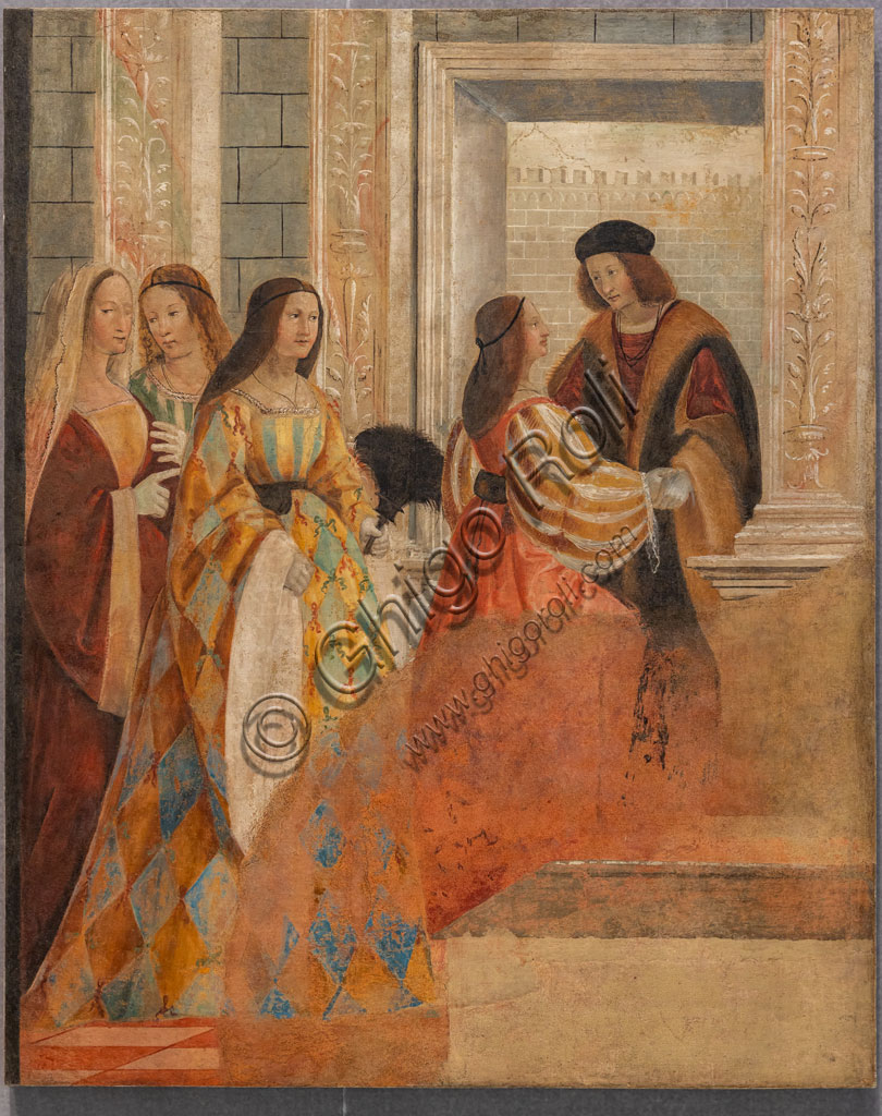 """Brescia, Pinacoteca Tosio Martinengo: """"Meeting of the Betrothed Couple"""", By Floriano Ferramola, 1517-8. Detached fresco."""