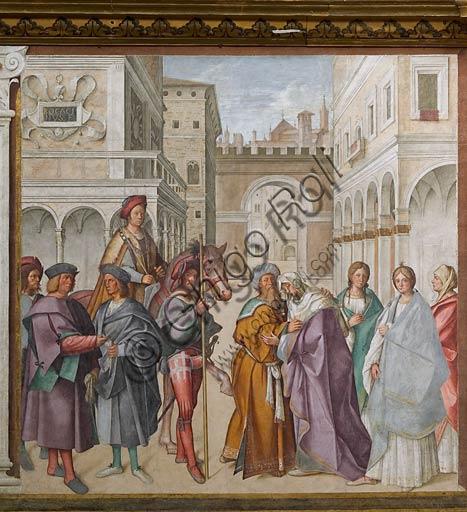 """Cremona, Duomo (Cattedrale di S. Maria Assunta), interno, navata mediana, primo arcone: """"Incontro di San Gioacchino con Sant'Anna"""", affresco di Boccaccio Boccaccino, 1515."""