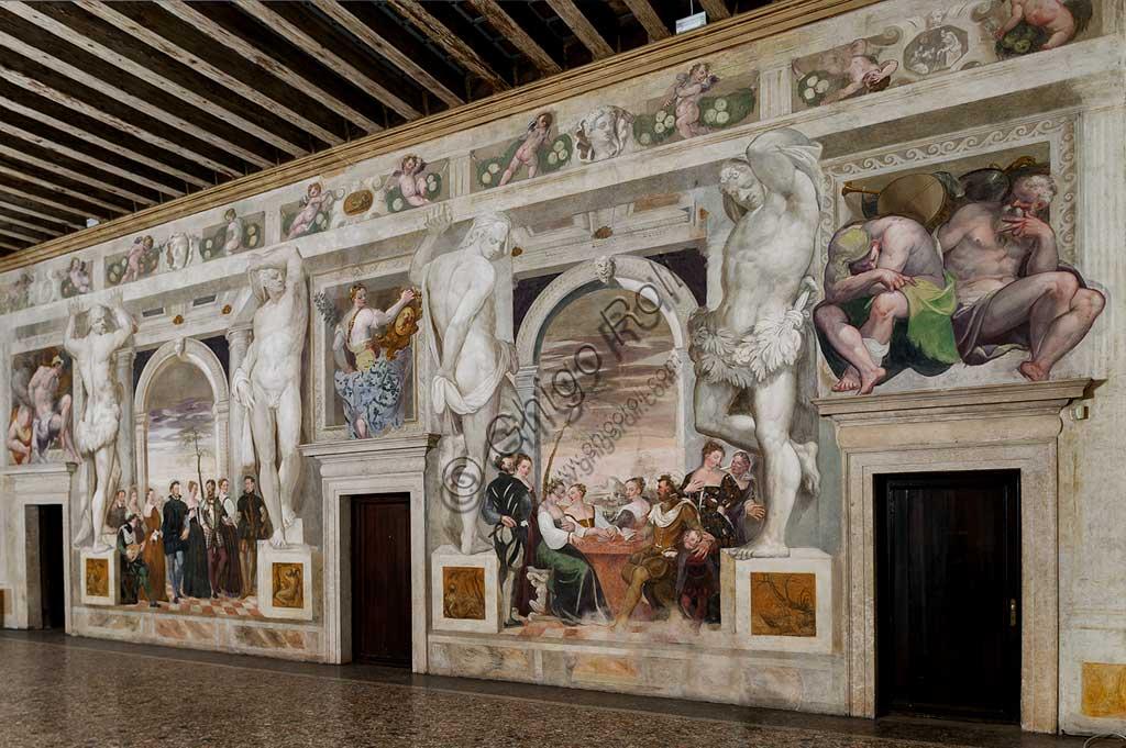 """Caldogno, Villa Caldogno, main hall: on the left, """"Invitation to the Dance""""; on the right, """"Card Game"""". Frescoes by Giovanni Antonio Fasolo, about 1570."""