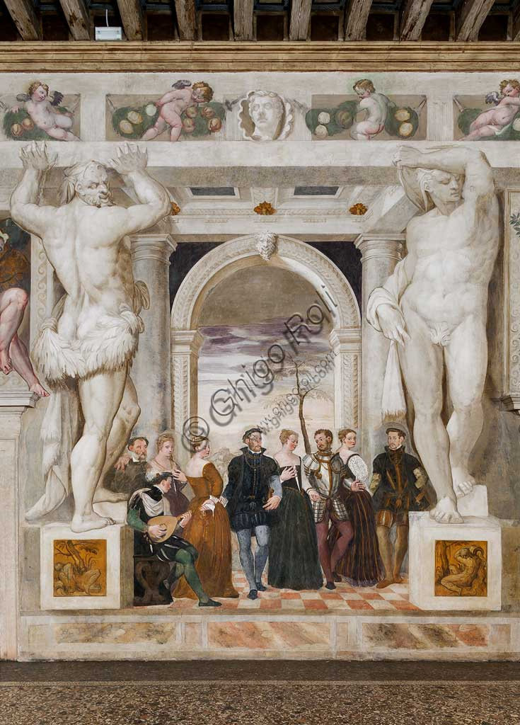 """Caldogno, Villa Caldogno, main hall: """"Invitation to the Dance"""";"""". Fresco by Giovanni Antonio Fasolo, about 1570."""