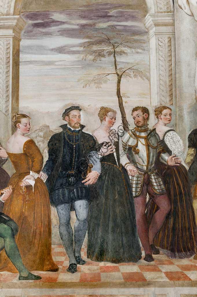 """Caldogno, Villa Caldogno, main hall: """"Invitation to the Dance"""";"""". Fresco by Giovanni Antonio Fasolo, about 1570. Detail."""