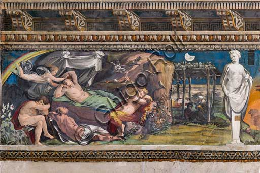 Rome, Villa Farnesina, The Hall of Perspectives: the ample frieze with mythological scenes inspired by the Ovid  Metamorphoses.  Frescoes by Baldassarre Peruzzi and workshop (1517-18). Detail of Iris visiting the House of Sleep, asking Hypnos to send Orpheus at Alcyon.