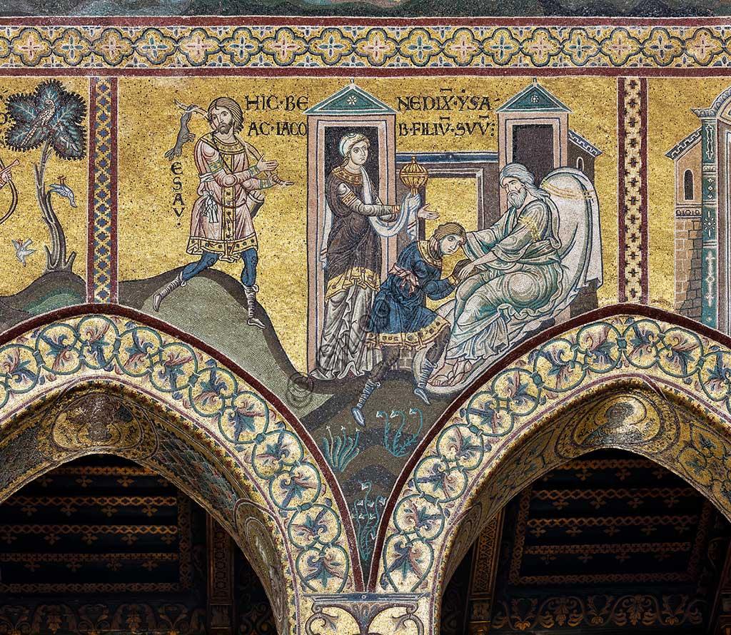 "Monreale, Duomo: ""Isaac blesses Jacob"", Byzantine mosaic, Old Testament cycle - Abraham, XII - XIII centuryLatin inscription: ""HIC BENEDIXIT ISAAC IACOB FILIUM SUUM""."