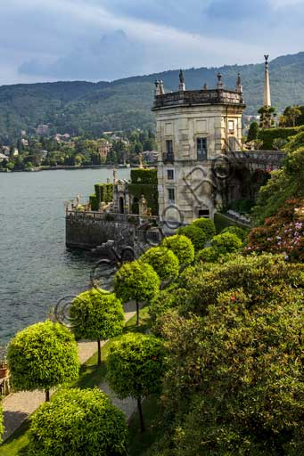 Isola Bella, the Borromeo Palace, the park with the Baroque Italian garden: partial view of the terraces and Torre dei Venti (Wind Tower).