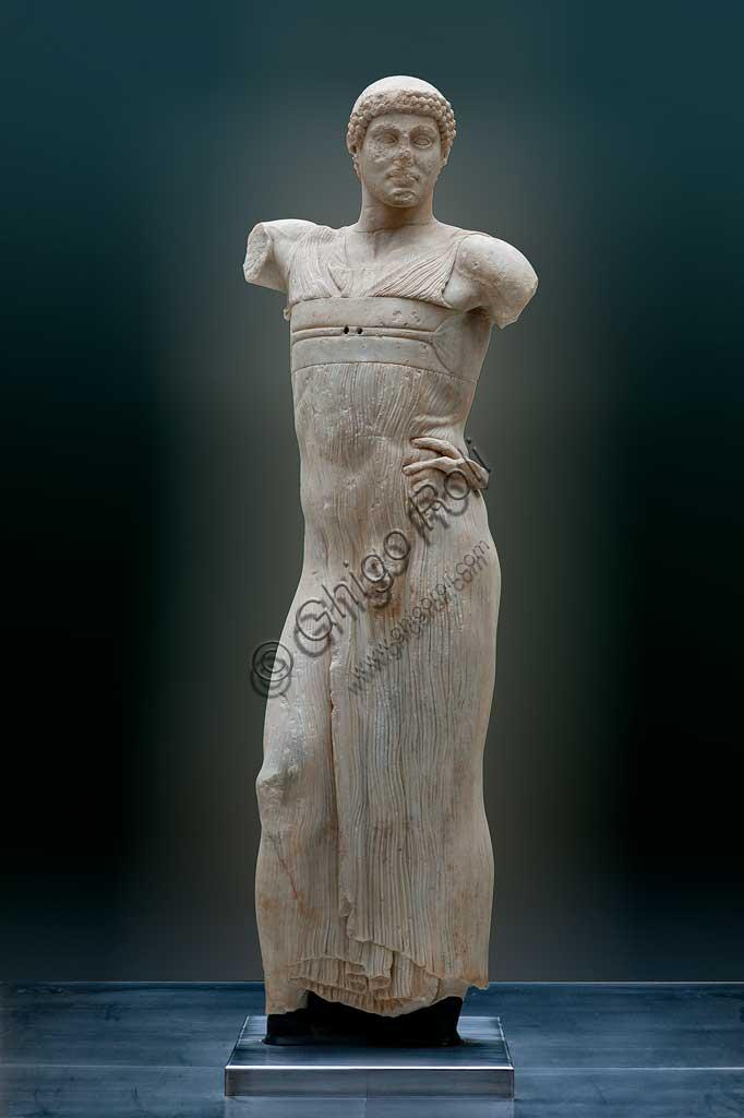 Island of San Pantaleo, Motya, Whitaker Museum: the Motya Charioteer, marble statue (450 BC-440 BC) depicting a young man, perhaps a charioteer.