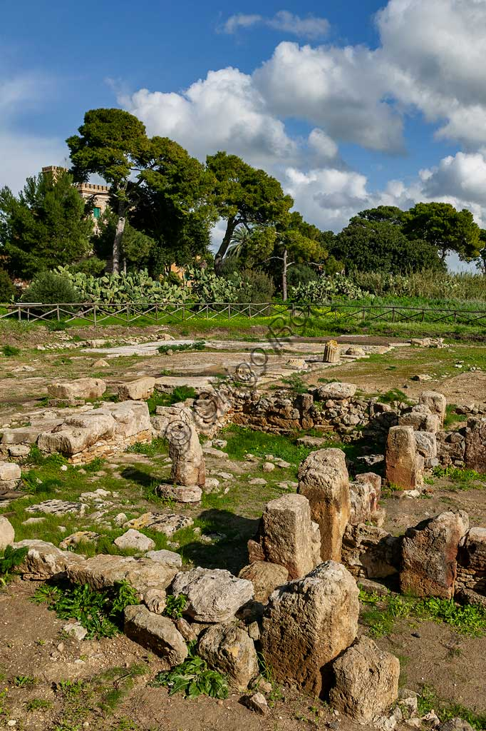 "Island of San Pantaleo, Motya: view of the ""House of Mosaics""."