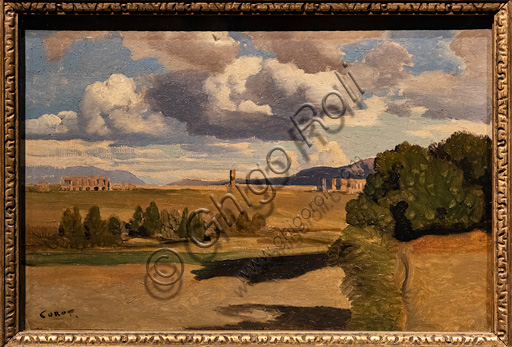 """Jean Baptiste Camille Corot: """"The Roman countryside with the Claudian acqueduct"""", 1826, oil painting on paper applied on canvas."""