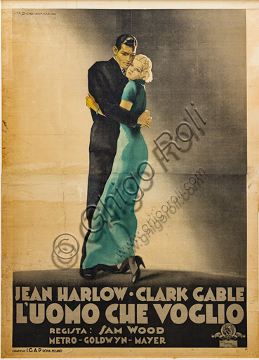 """""""Jean Harlow and Clark Gable. The Man I Want"""", Illustration by Marcello Dudovich, 1933, chromolithography on paper."""