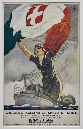 """""""The Italian Cruise to Latin America"""", Illustration for the advertising poster by Marcello Dudovich, 1924, chromolithography on paper."""
