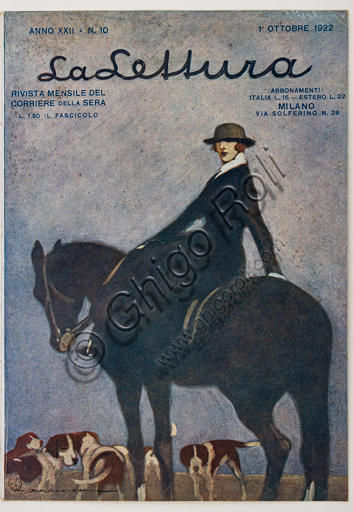 """""""La Lettura, October 1, 1922"""", Illustration by Marcello Dudovich for the cover  of the magazine """"La Lettura"""", 1922, letterpress print."""