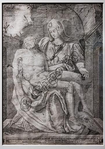 """""""La Pietà di Michelangelo"""", di Antonio Salamanca (da Nicolas Béatrizet), 1547. Si tratta della prima traduzione a stampa del capolavoro di Michelangelo."""